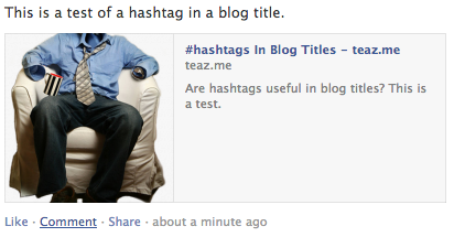 Hash symbol in a blog title on Facebook
