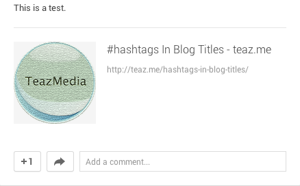 Hash symbol in a blog title on Google+