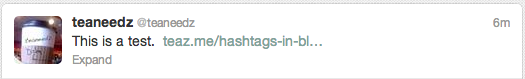 Hash symbol in a blog title on Twitter
