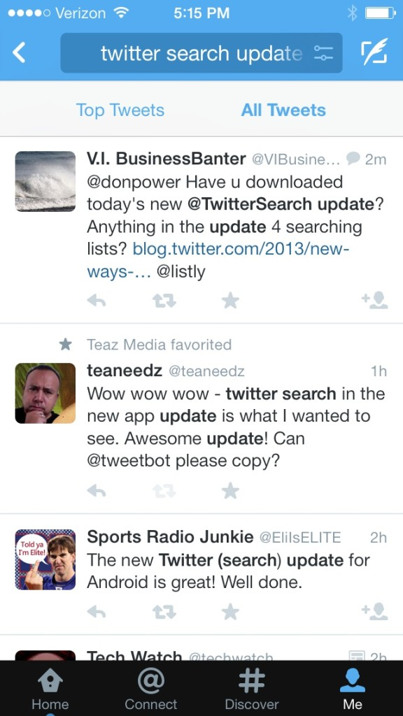 Twitter Search Updated for iOS
