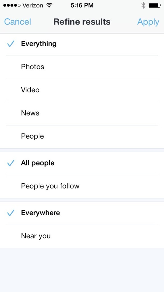 Twitter Search Updated Options for iOS