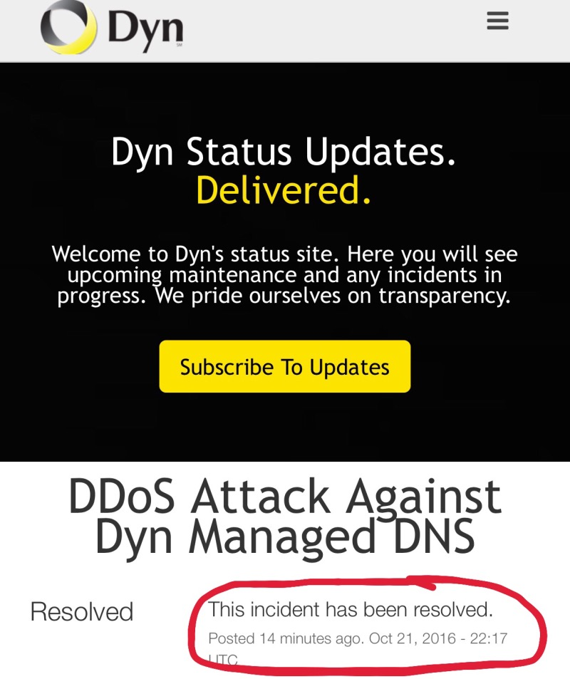 Dyn says DNS issue resolved